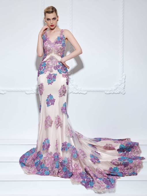 Floral Lace Appliques Mermaid Evening Dress