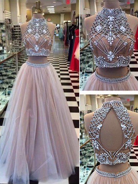 A-Line Two Pieces Jewel Neck Beading Backless Long Prom Dress