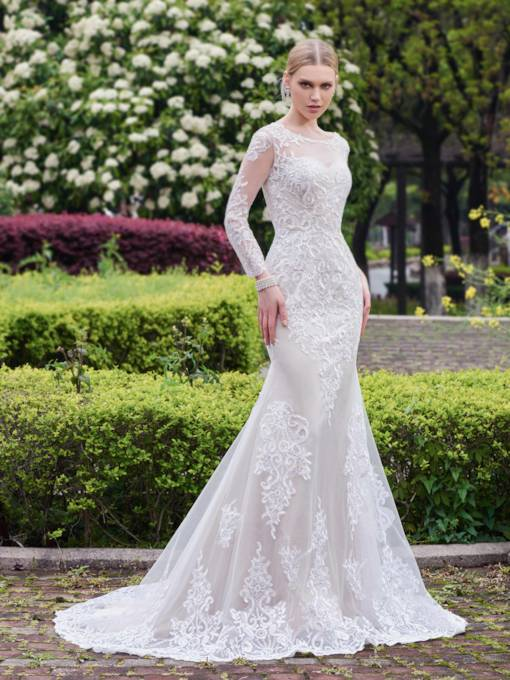 Scoop Neck Long Sleeves Appliques Wedding Dress
