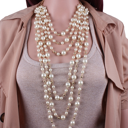 Layers of White Pearl Necklace Earrings Jewelry Set