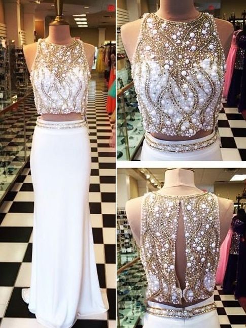 Sheath Jewel Neck Beaded Two Pieces Prom Dress