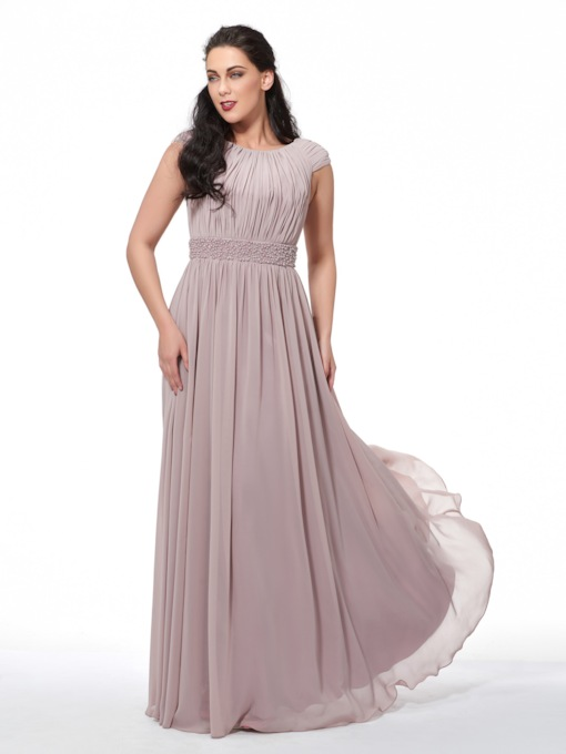 Cap Sleeve Pearls Pleats Plus Size Evening Dress