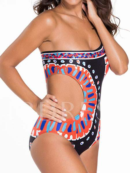 Indian One-Shoulder Hollow One Piece Swimsuit