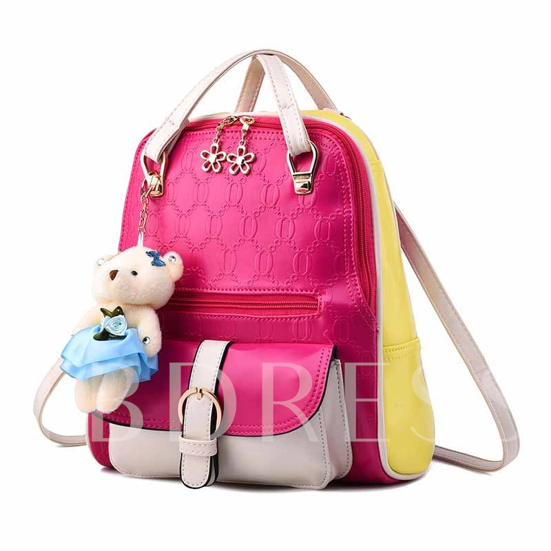 Smooth Embossed Contrast Color Student Backpack