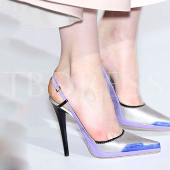 Pointed Toe Buckle Color Block Stiletto Heel Women's Sandals