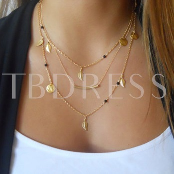 Multilayer Sequins and Leaves Necklace
