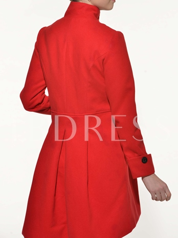 Solid Color Double Breasted Women's Overcoat