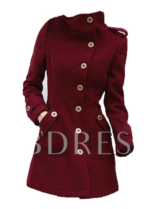 Solid Color Single-breasted Overcoat