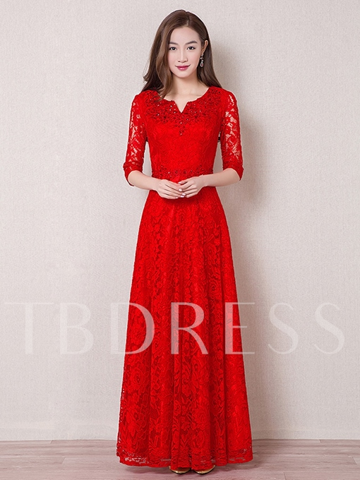 A-Line Scoop Half Sleeves Lace Floor-Length Evening Dress