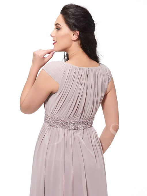 A-Line Scoop Beading Draped Plus Size Evening Dress