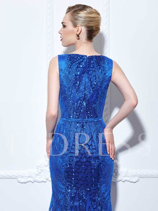 Mermaid Straps Sequins Lace Court Train Evening Dress