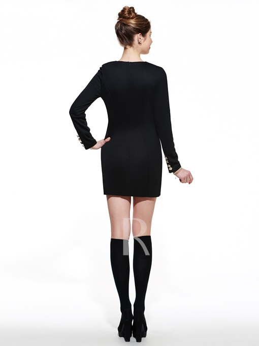 Solid Color Cashmere Double-breasted Women's Day Dress