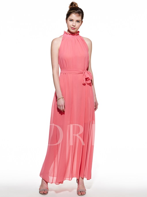 Stand Collar Chiffon Women's Maxi Dress