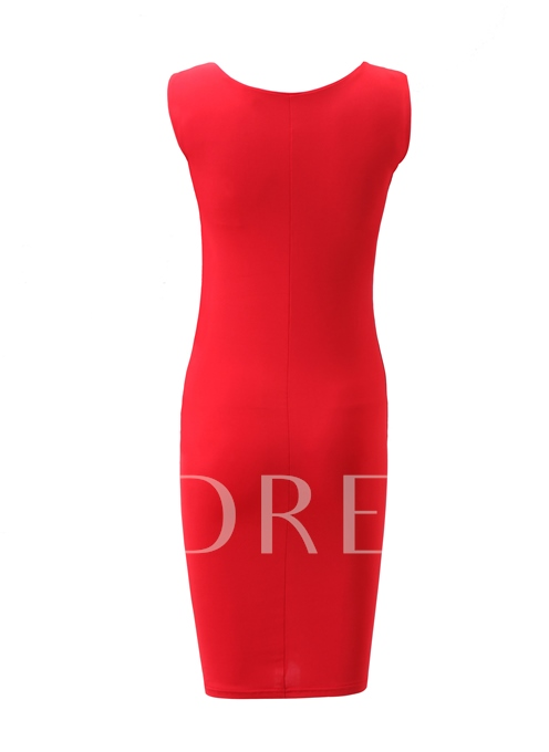 V-Neck Red Sheath Pencil Women's Sexy Dress