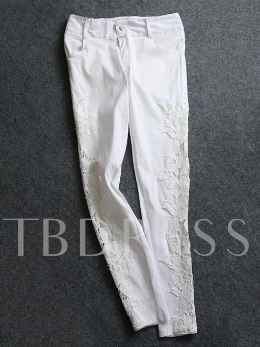 Lace Patchwork Hollow-Out White Women's Jeans