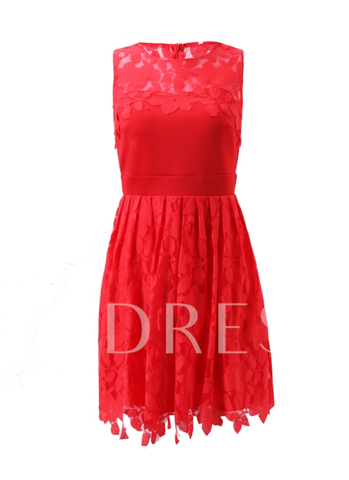 Lace Plain Red A-Line Women's Day Dress