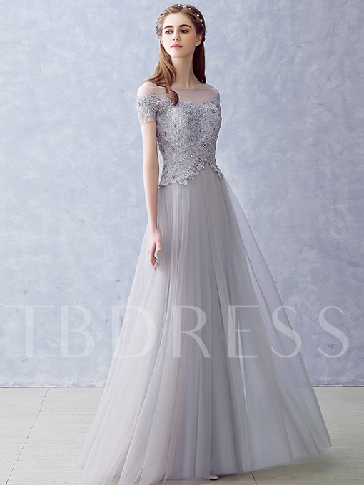 A-Line Scoop Appliques Pearls Long Evening Dress