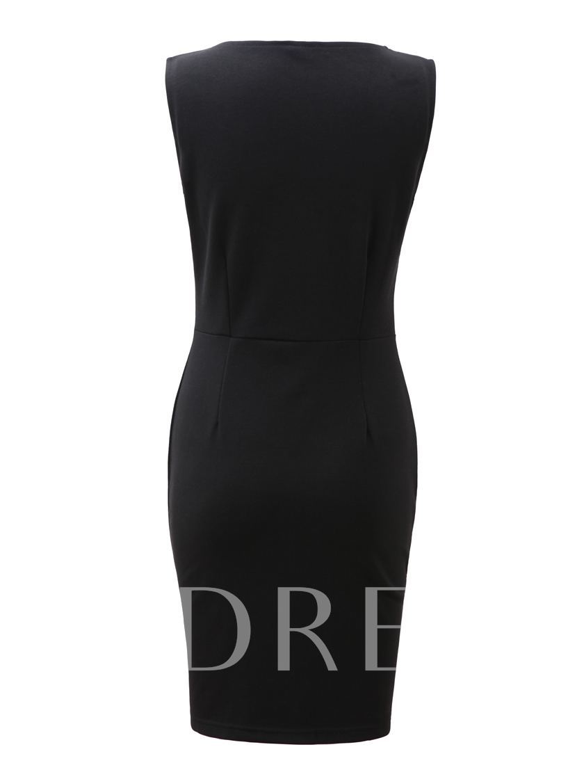 Black Pu Patchwork Pencil Women's Sheath Dress