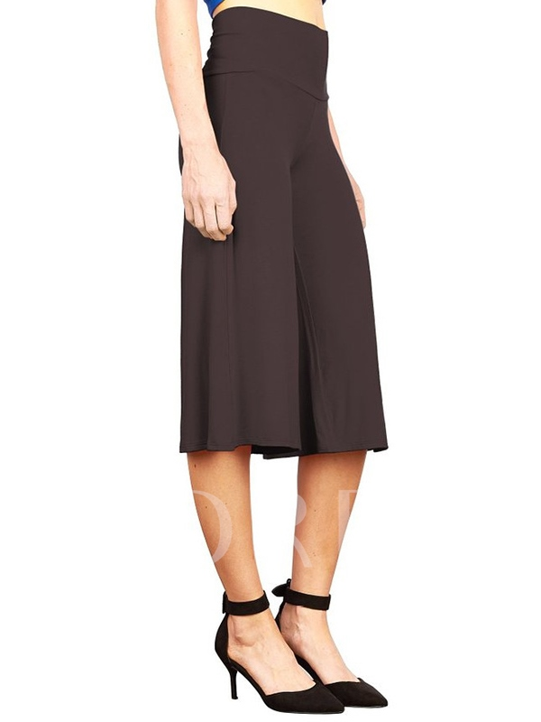 High Waisted Wide Leg Pure Color Women's Pants