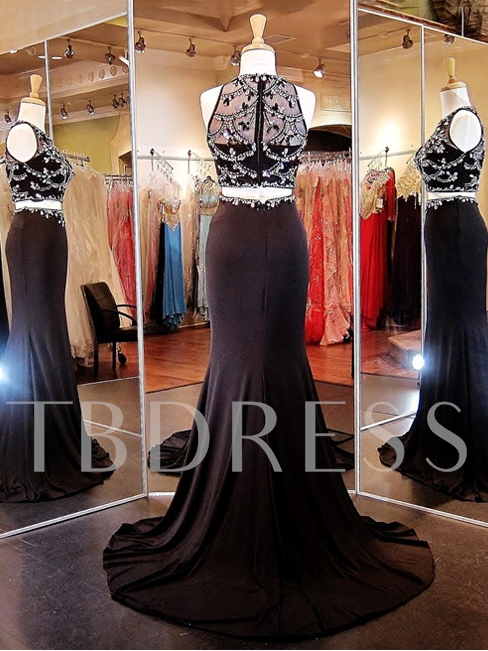 Two Pieces Trumpet Jewel Beading Court Train Prom Dress