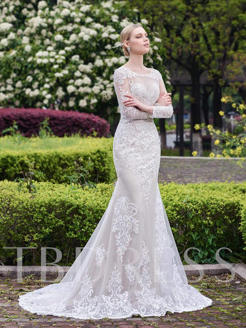 Scoop Neck Appliques Long Sleeves Wedding Dress