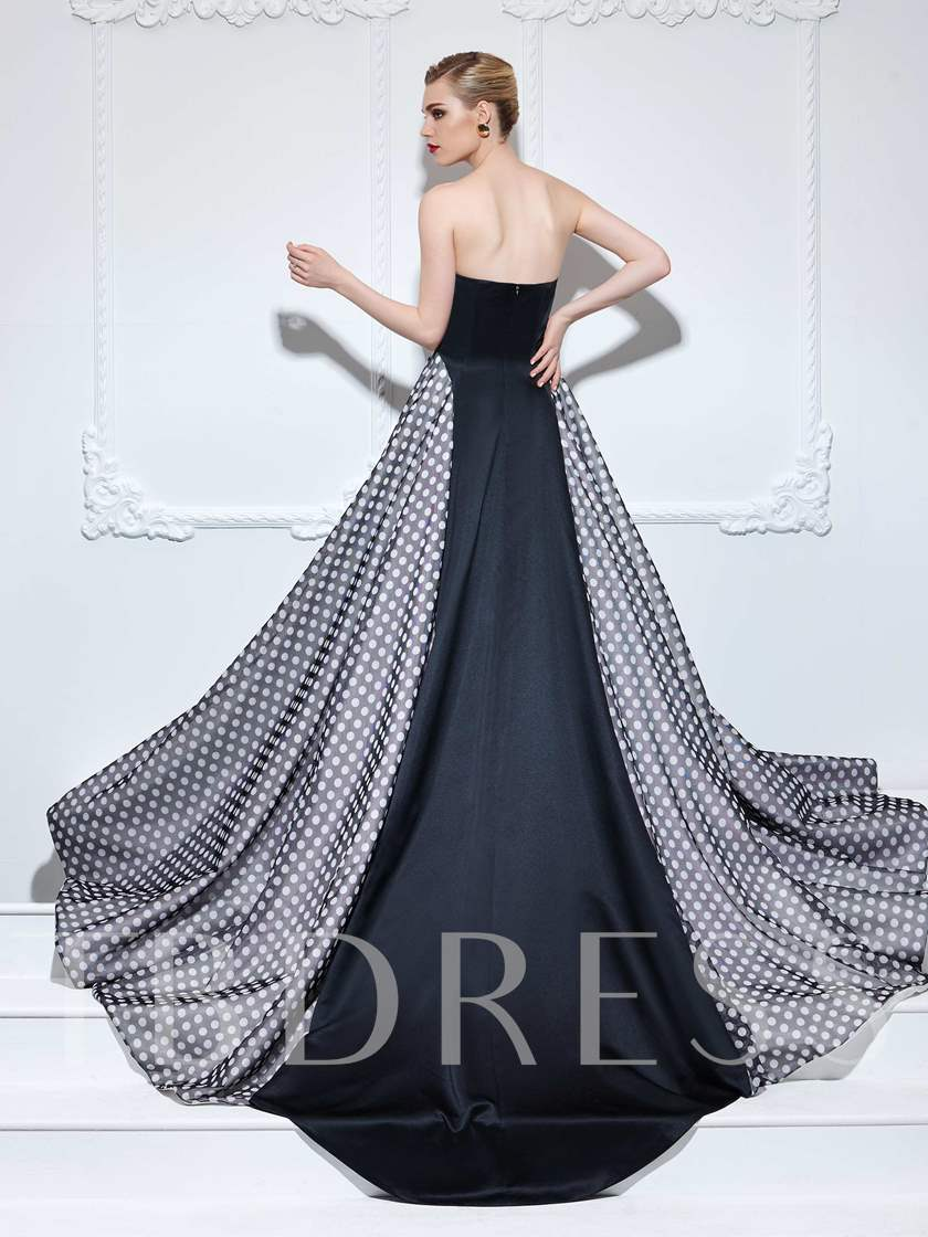 A-Line Sweetheart Print Court Train Evening Dress