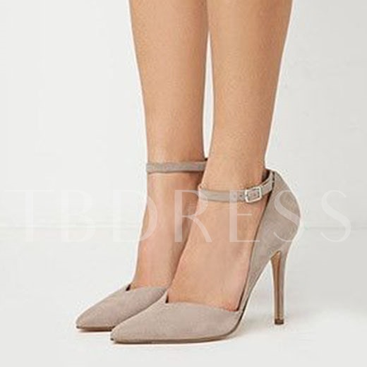 Plain Suede Pointed Toe Stiletto Heel Women's Sandals