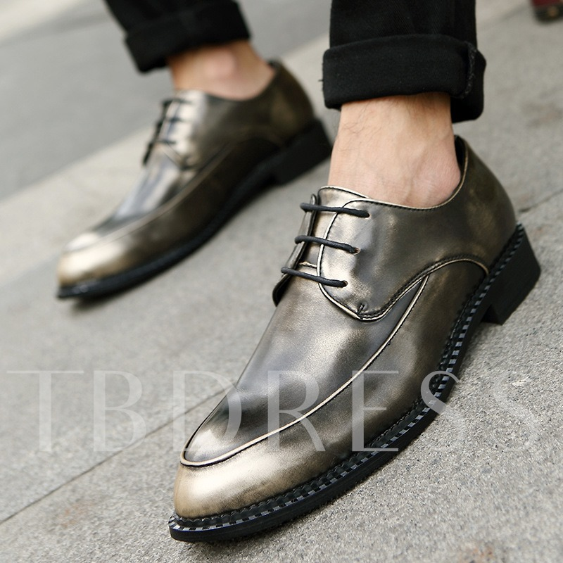 Pointed Toe Square Low Heel Plain Men's Oxfords