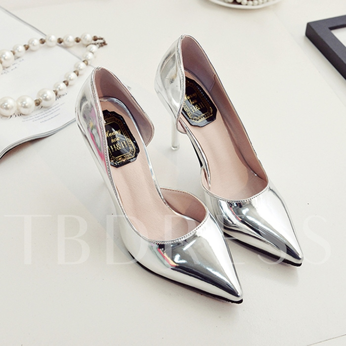 Pointed Toe Slip-On Plain Stiletto Heel Sequins Women's Sandals