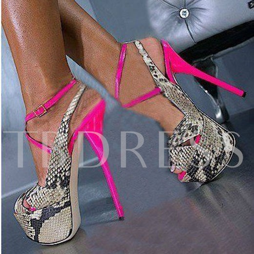 Buckle Stiletto Heel Color Block Peep Toe Women's Sandals