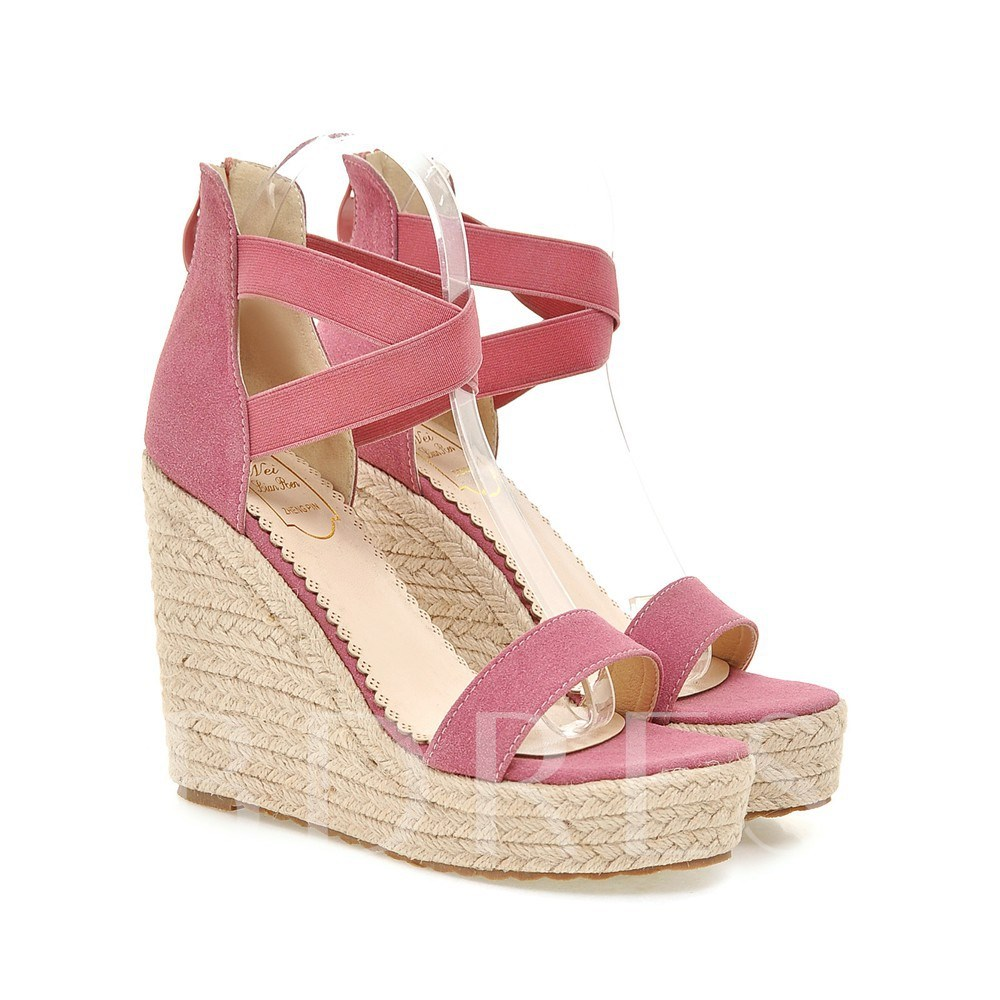 Open Toe Zipper Plain Wedge Heel Platform Women's Sandals
