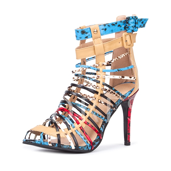 Closed Toe Buckle Color Block Stiletto Heel Women's Sandals