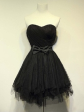 A-Line Sweetheart Bowknot Pleats Sashes Mini Homecoming Dress