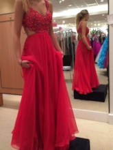 Straps Appliques Beading Hollow Prom Dress