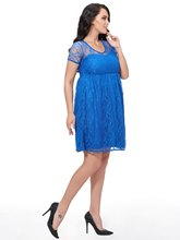 Blue Short Sleeve Hollow Women's Lace Dress (Plus Size Available)