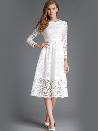 Hollow Long Sleeve Women's Lace Dress