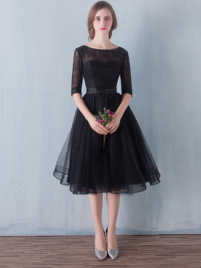 A-Line Scoop Half Sleeves Lace Sashes Tea-Length Prom Dress