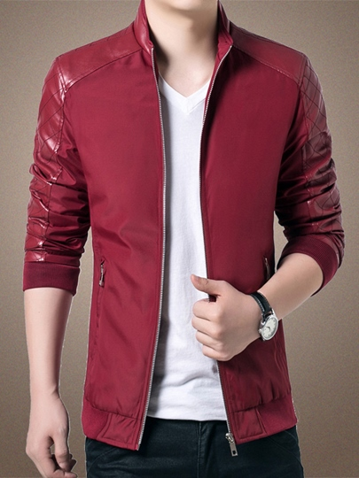 Men's PU Patch Jacket with Stand Collar