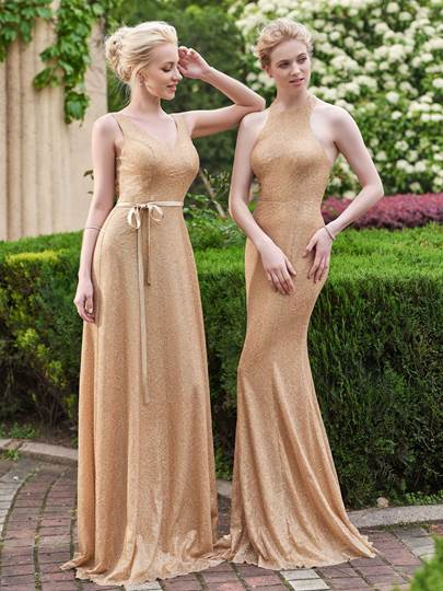 Halter Sequins Floor-Length Mermaid Bridesmaid Dress