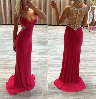 Sheath V-Neck Beaded Empire Crystal Sweep Train Prom Dress