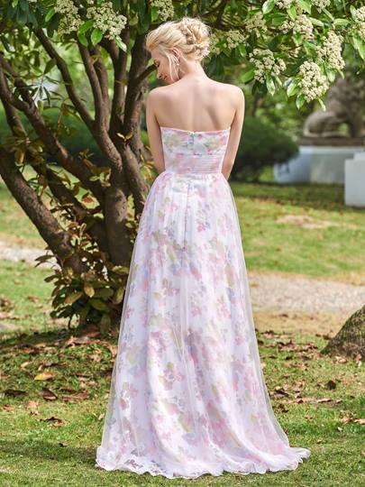 Sweetheart Printing Zipper-Up A-Line Bridesmaid Dress