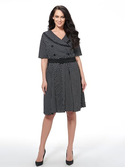 Plus Size Polka Dots Women's Day Dress
