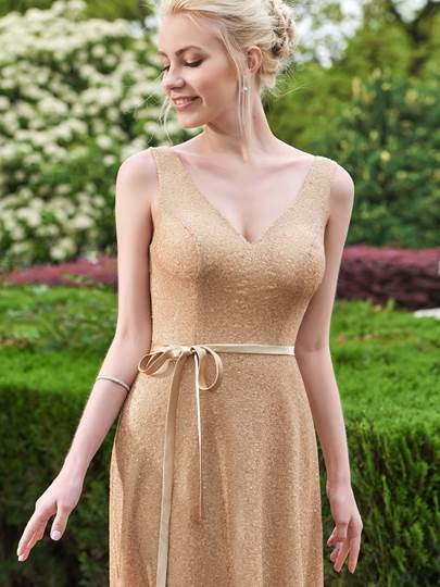 Shining V-Neck Straps Sequins A-Line Floor-Length Bridesmaid Dress
