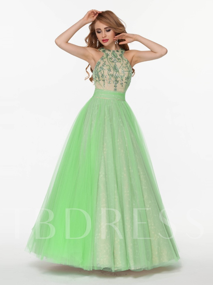 Image of A-Line Halter Beading Bowknot Floor-Length Prom Dress