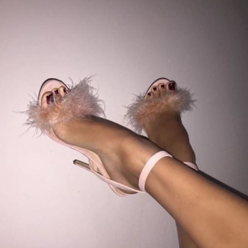 Stiletto Heel Open Toe Line-Style Buckle Feather Women's Sandals