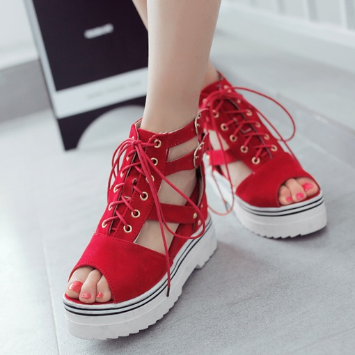 Peep Toe Lace-Up Plain Platform Cross Strap Wedge Heel Women's Sandals