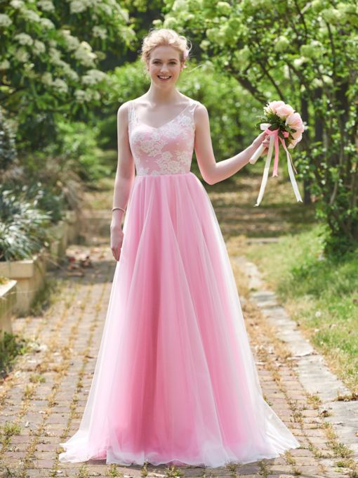 V-Neck Straps Lace Bridesmaid Dress