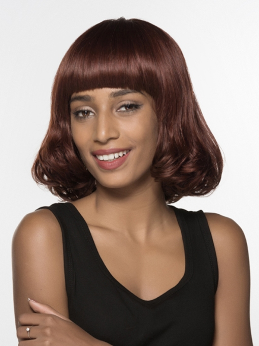 Sweety Medium Wavy Full Bangs Capless Human Hair Wig 14 Inches
