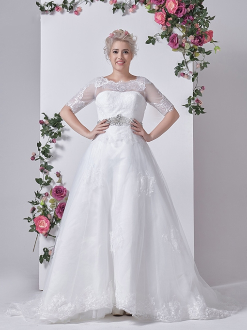 Half Sleeves Appliques Scoop Neck Court Train Plus Size Wedding Dress