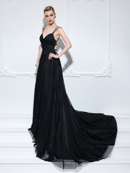 A-Line Straps Beading Button Court Train Evening Dress